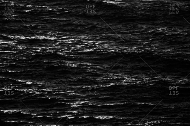 Rippling ocean surface in low light