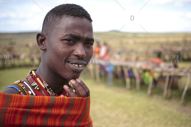Namibia, Africa - 10/17/13: Young Masai man with a thoughtful expression