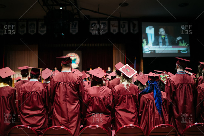 College students at a graduation ceremony