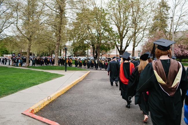 Professors walking at college graduation