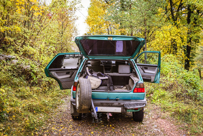 Car in forest with baggage in trunk