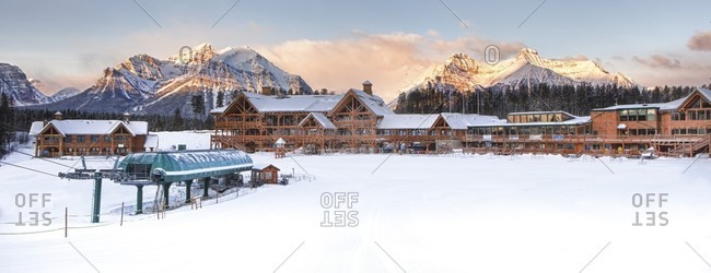 Alberta, Canada - March 19, 2013: Lake Louise ski area, winter