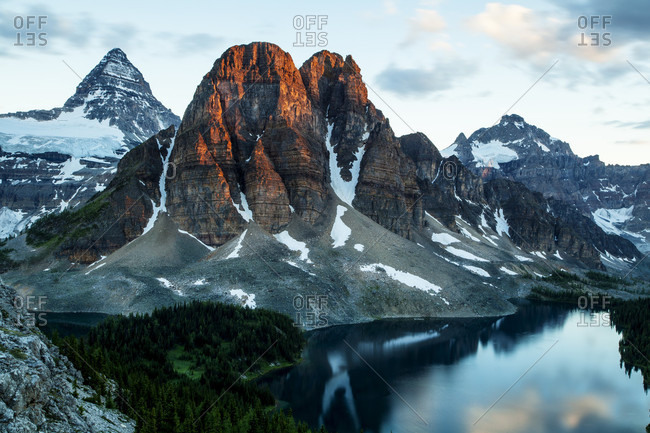 Mt Assiniboine, and Starburst lake, sunrise