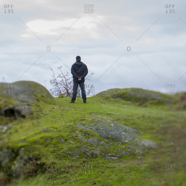 Man stands in green meadow, with arms behind back
