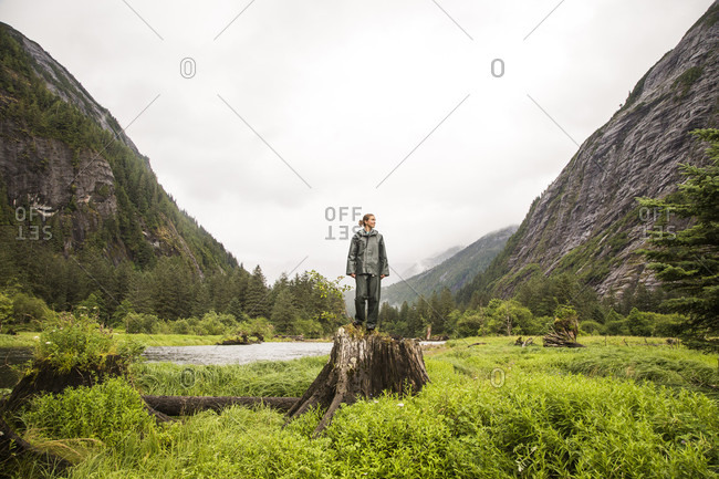 A woman a green rain coat and pants stands on a giant stump in a grassy valley with steep cliff walls.