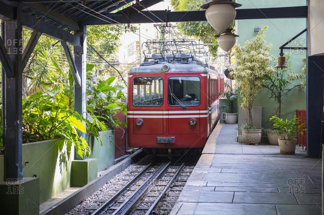 Tram in Rio de Janeiro going to Christ the Redeemer Statue