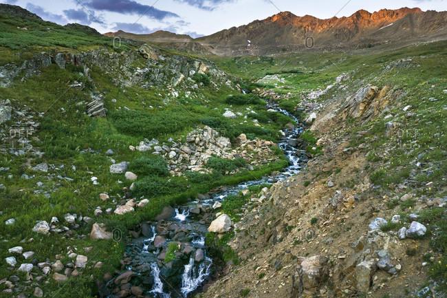 High alpine stream in Colorado during sunset