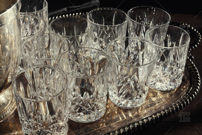 Empty Whiskey Glasses On Tray