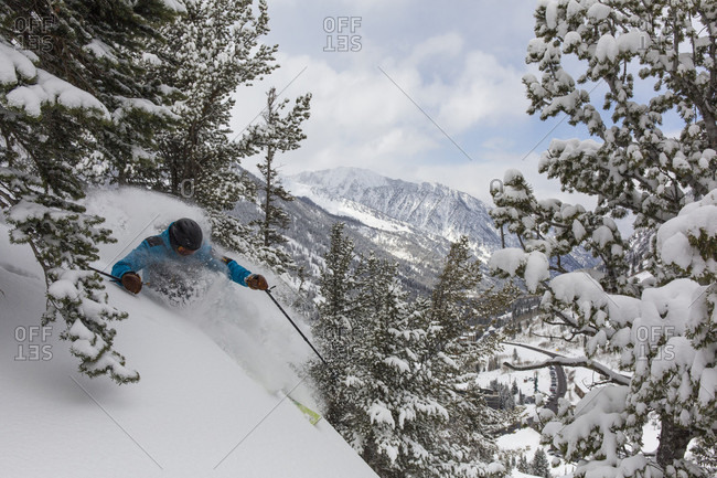 Extreme skier skiing down slope near trees