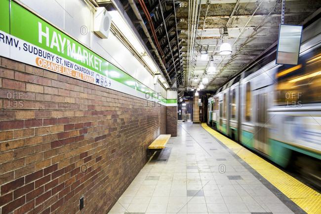The Subway Train At Haymarket Station In Downtown Boston, Massachusetts
