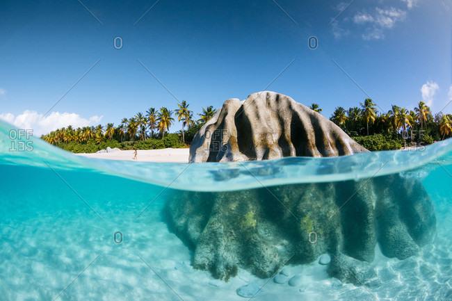Rock On A Sandy Bottom Of Sea Near The Baths, British Virgin Islands