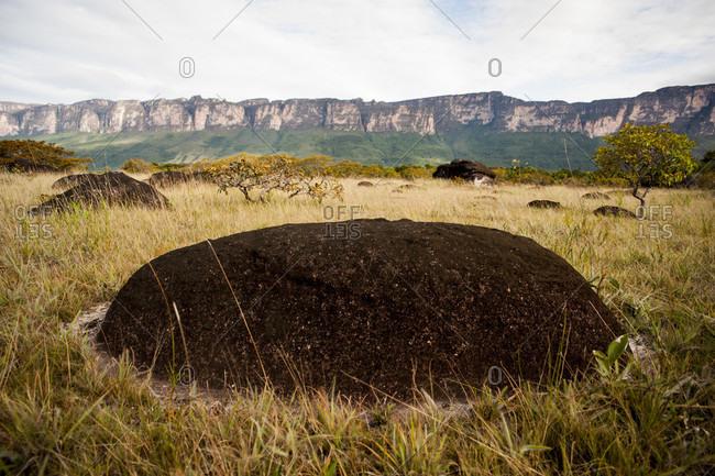 Black Rock On The Landscape At Ayan Tepui In Bolivar State, Venezuela