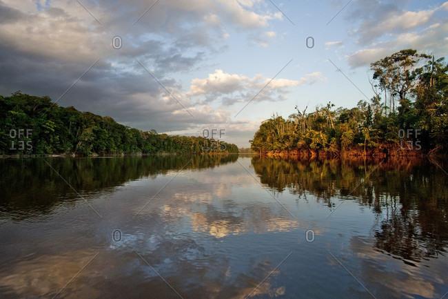 Reflection Of Clouds In River, Bolivar State, Venezuela