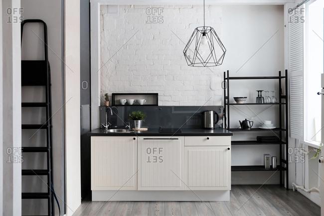 White and black domestic kitchen