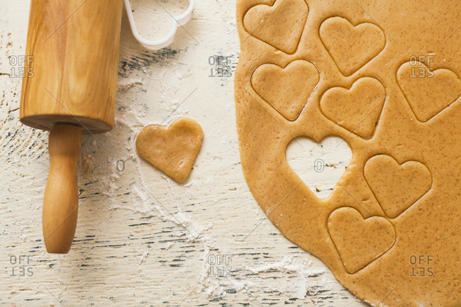 Heart shape cut from cookie dough