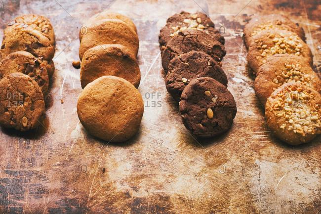 Variety of cookies in rows