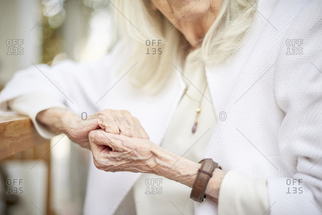 Hands of older Caucasian woman