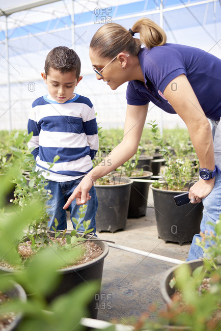 Hispanic mother showing plant to son in greenhouse