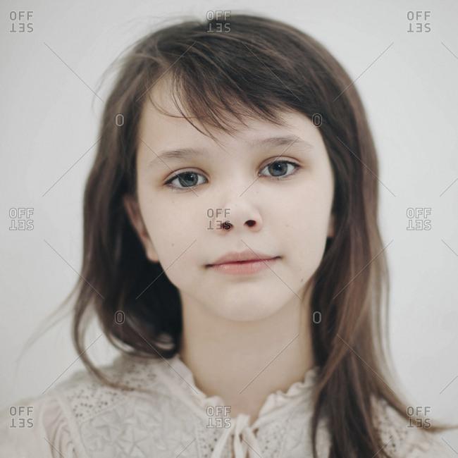Portrait of serious Caucasian girl
