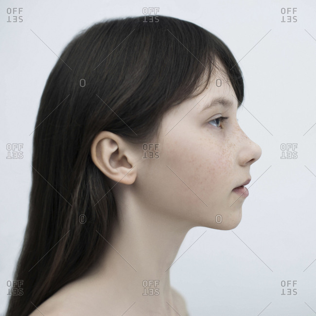 Profile of Caucasian girl with long hair