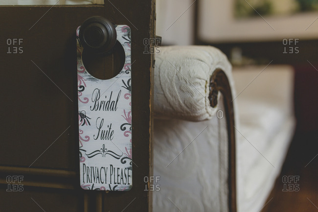 Bridal suite sign hanging on doorknob