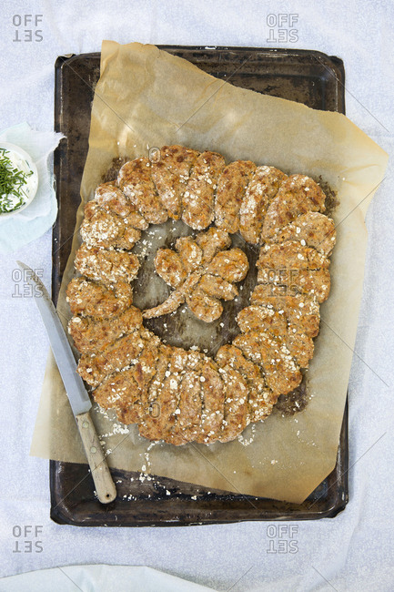 Ring of oatmeal bread with shamrock for St. Patrick's Day