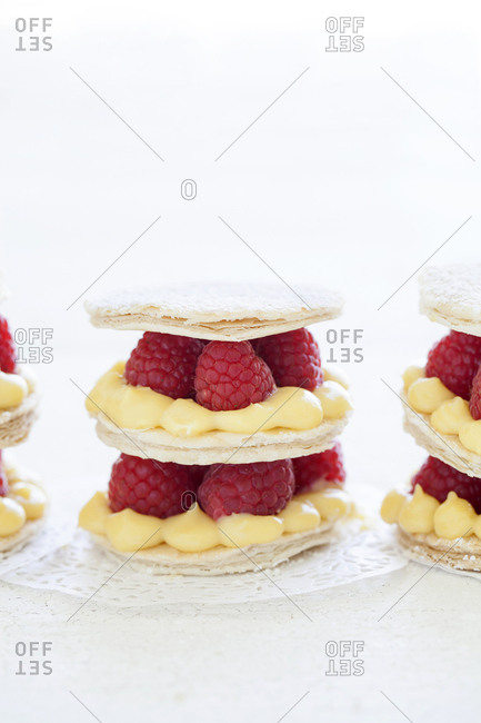 Raspberry and lemon mille-feuille