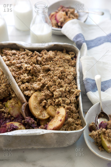Apple and blueberry crumble dessert