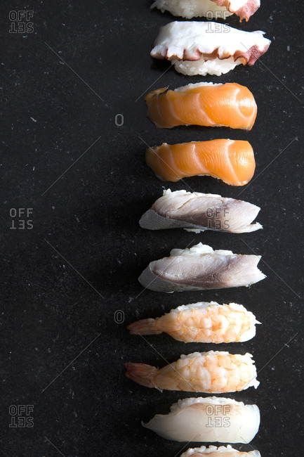 Overhead view of pieces of sushi