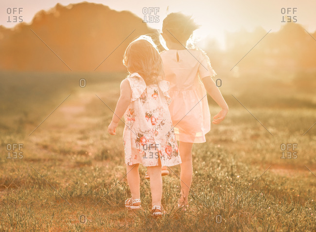 Rear view of sisters walking in a field at sunset