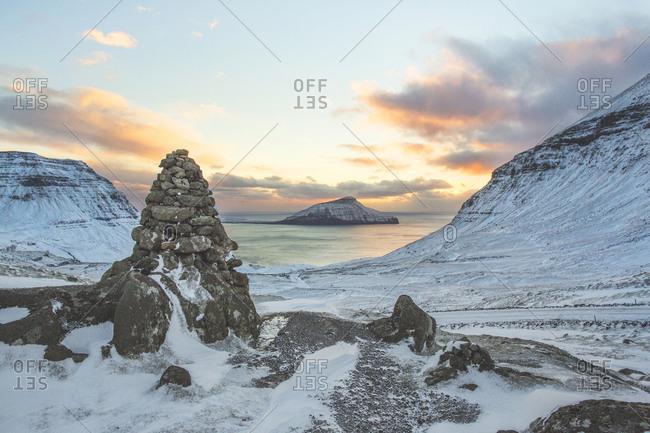 Faroe Islands - November 20, 2015. Beautiful sunset in the Faroe Islands.