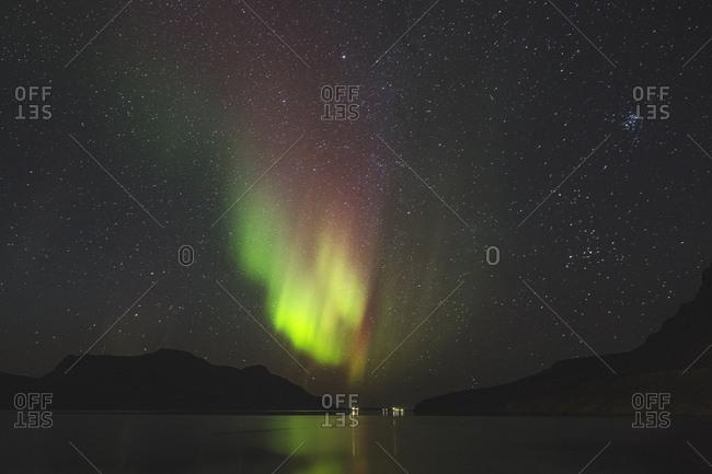 Iceland - September 22, 2015. The spectacular northern lights in Djupavik, Iceland.
