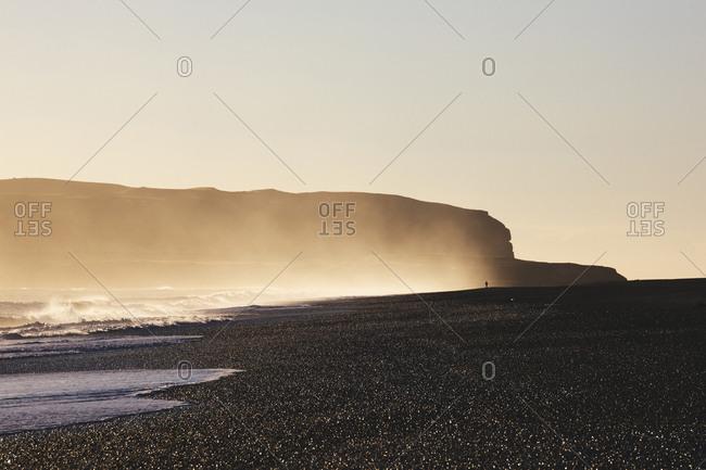 Iceland - September 24, 2015. The spectacular black sand beach in Vik Iceland.
