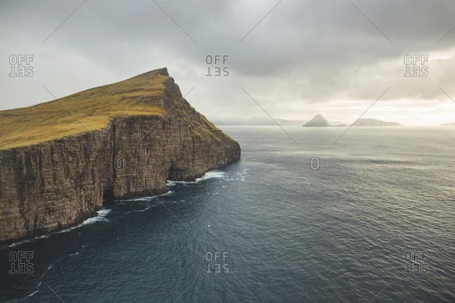 Vagar, Faroe Islands - November 19, 2015. The rocky shore of the island Vagar in the Faroe Island.