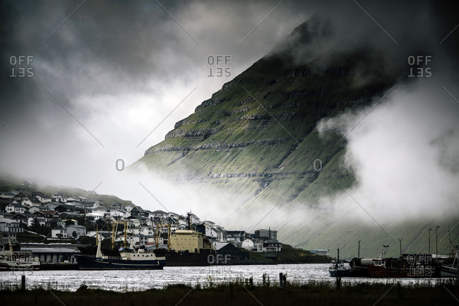 Klaksvik, Faroe Islands - July 24, 2014. The city of Klaksvik, which is the second largest town in the Faroe Islands.