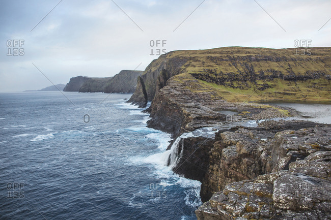 Vagar, Faroe Islands - November 19, 2015. The Sorvagsvatn, also known as Leitisvatn, is the largest lake in the Faroe Islands. It's located only 30 meter above the sea level on the island of Vagar.