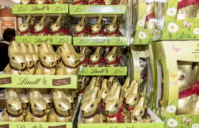 Milan, Italy - April 13, 2017: Chocolate Easter candy in boxes
