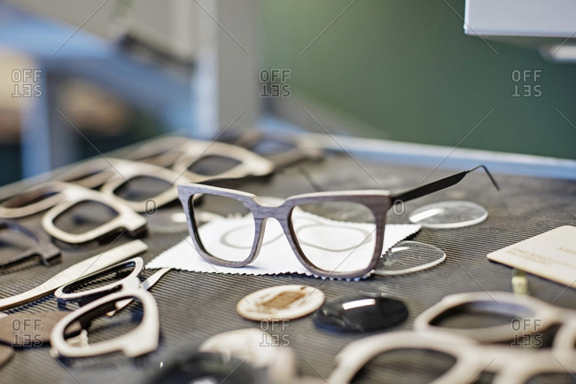 Eyeglasses frames on table at workshop