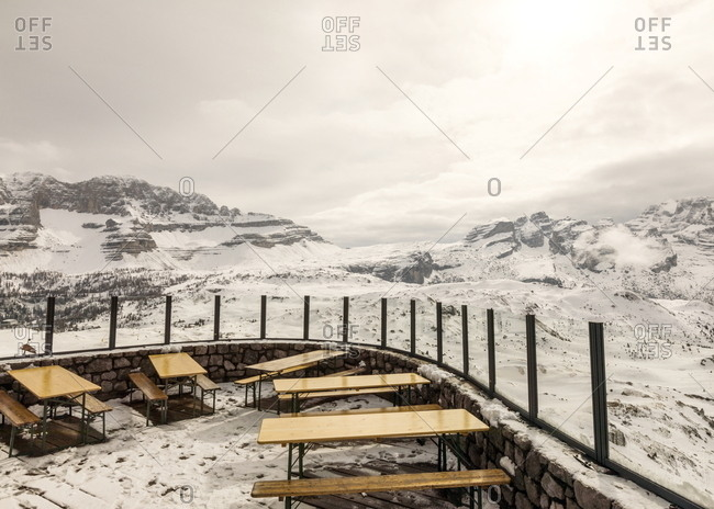 Restaurant terrace in the alps