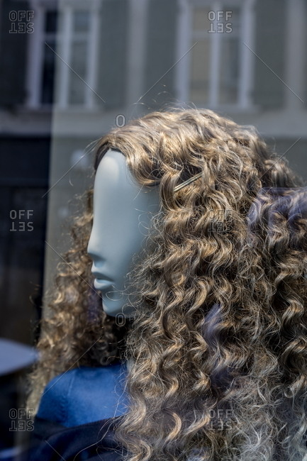 Wig in a store window
