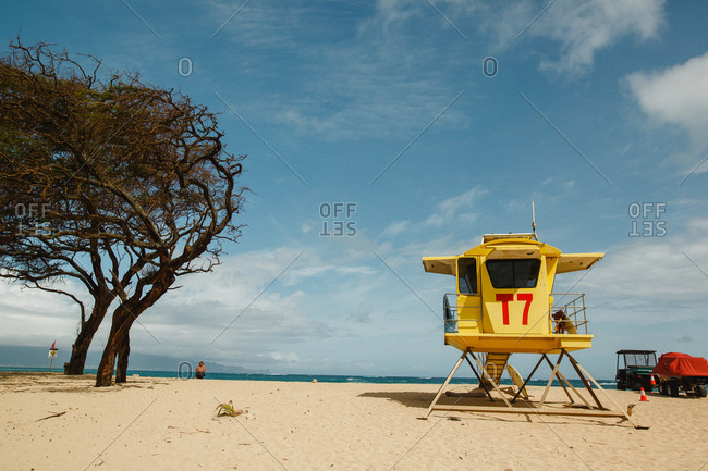 Lifeguard station on sandy beach in Hawaii