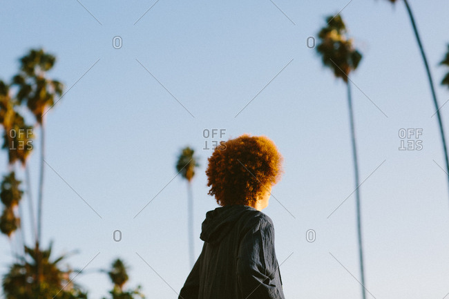 Teenage boy with red afro hair, outdoors, rear view