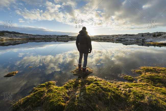 Man standing at water's edge, looking at view, rear view, Tjarnarholl, Iceland