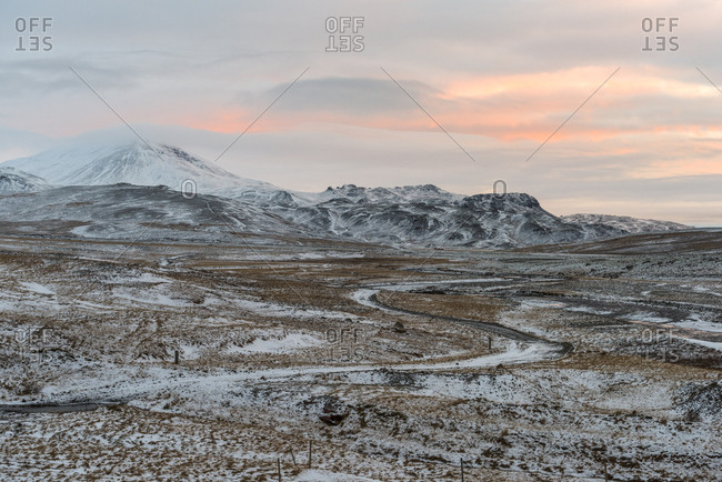 Scenic view, sunset, Mosfell, Iceland