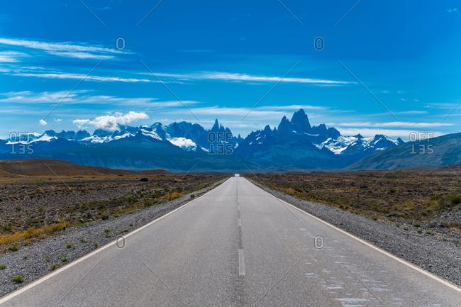 "Road ""23"" leading towards the mountain Cerro Torre and Mt. Fitz Roy, El Chalten, Santa Cruz Province, Argentina"