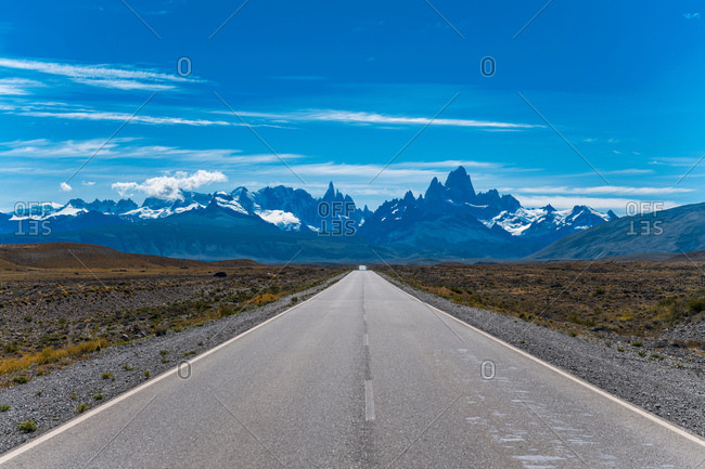 "Road ""23"" leading towards the mountain Cerro Torre and Mt. Fitz Roy, El Chalten, Santa Cruz Province, Argentina"