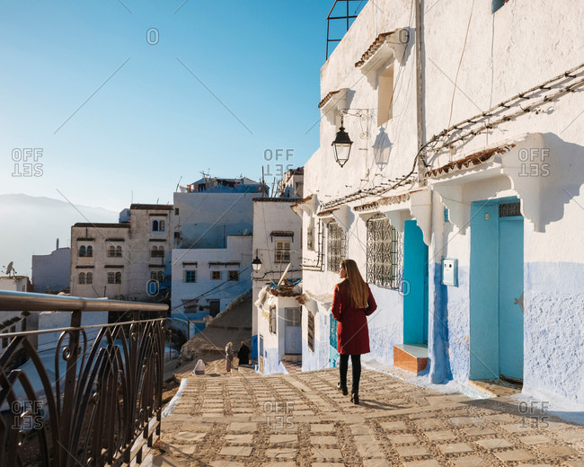 Woman exploring, Chefchaouen, Morocco, North Africa