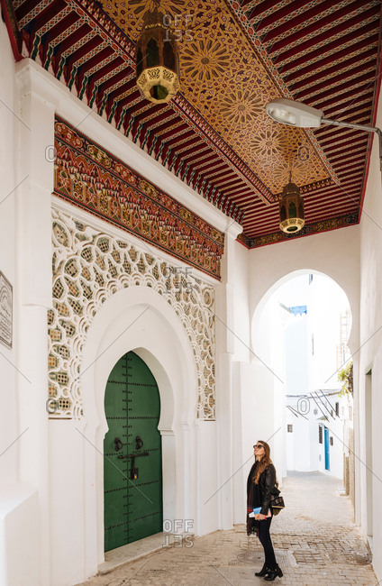 Woman exploring, Kasbah, Tangier, Morocco, North Africa