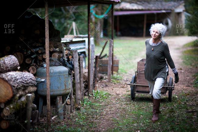 Mature woman pulling handcart in garden