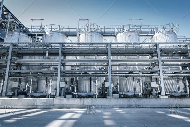 Tanks and pipes in oil blending plant, Antwerp, Belgium, Europe